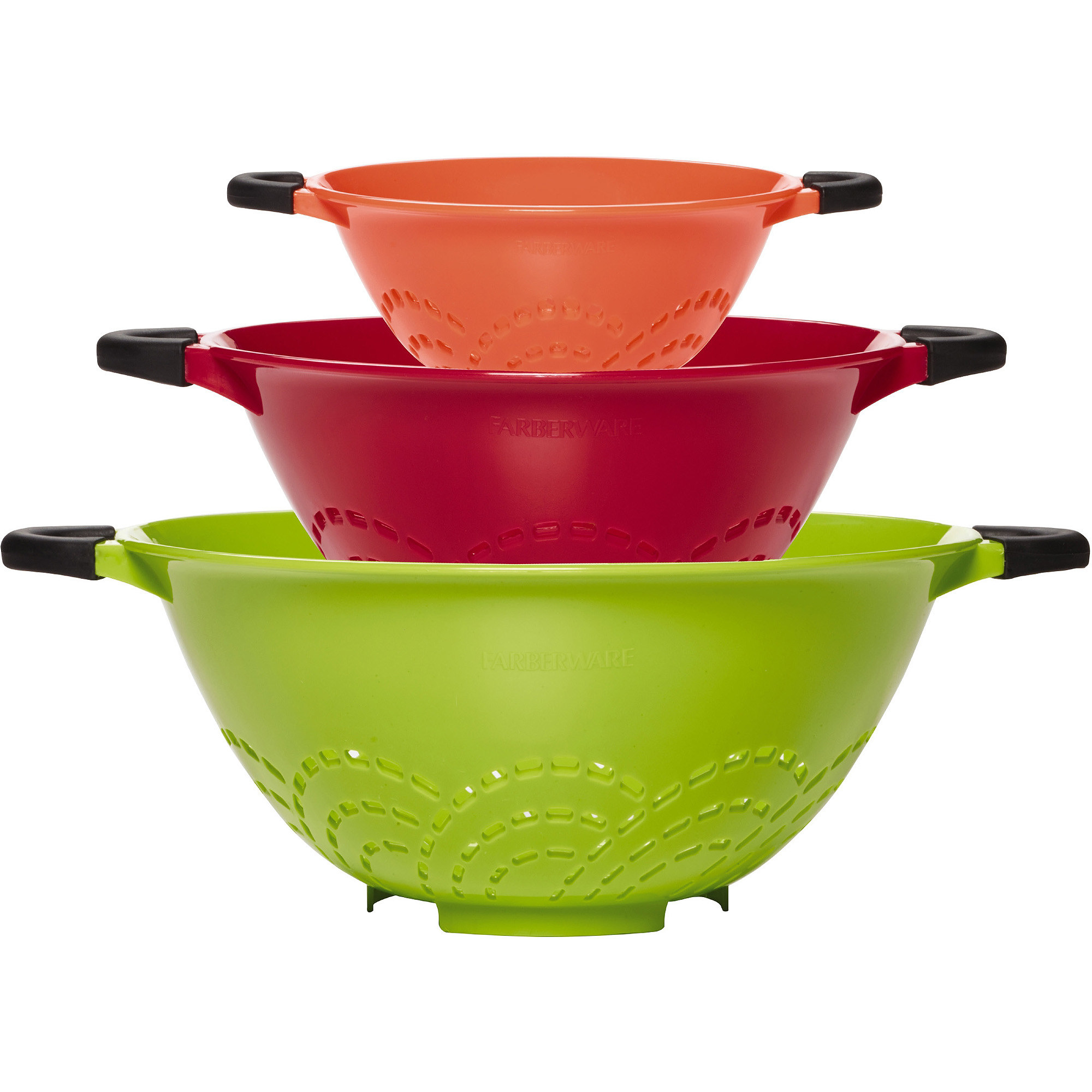 The three colanders stacked in size order to show size and color
