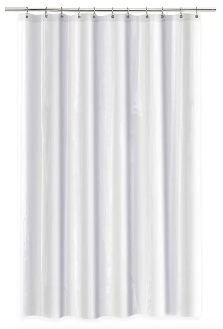 White anti-mildew shower curtain liner