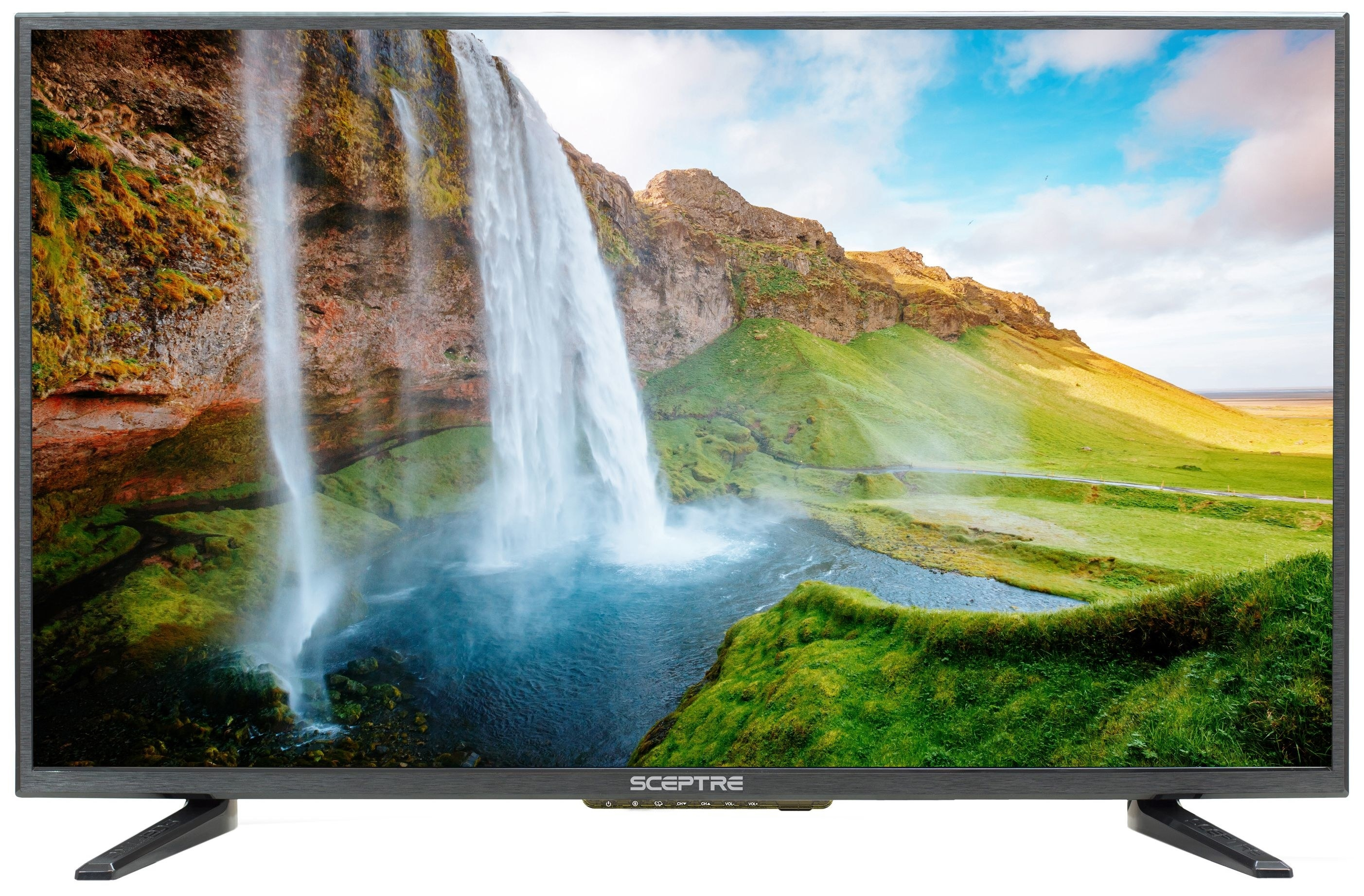sceptre LED tv with a waterfall backgroun