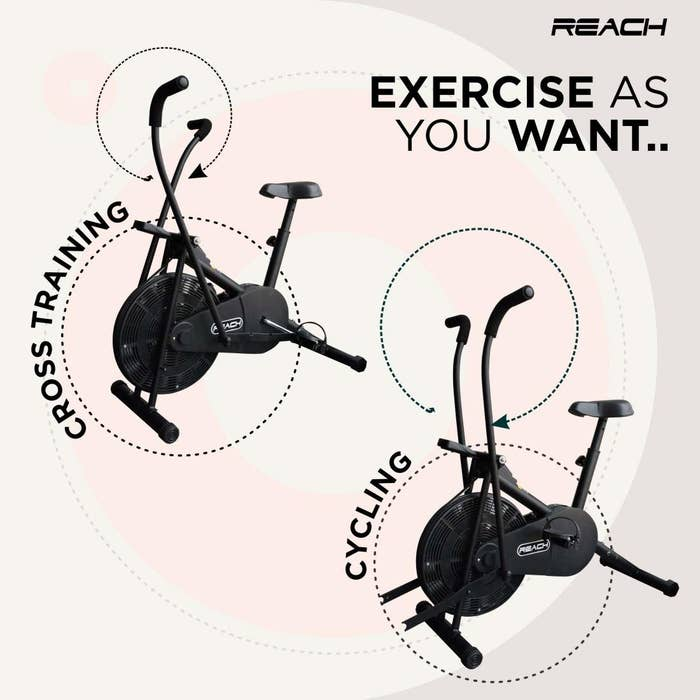 """Image showing the cycle, describing how it's for cross-training and cycling both. Caption: """"Exercise as you want."""""""