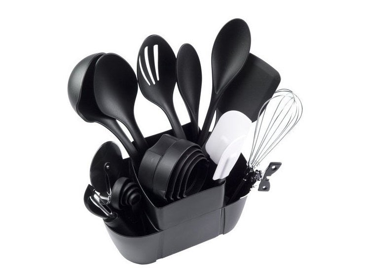 The utensil set in its caddy
