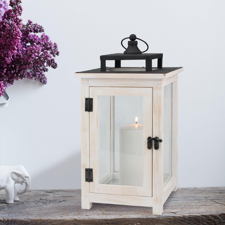 White wood and metal lantern