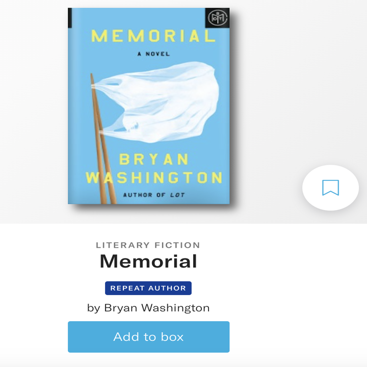 memorial by bryan washington on the book of the month site labeled literary fiction and by a repeat author