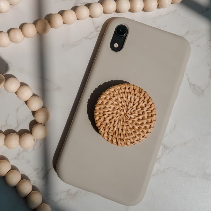 Boho rattan phone stand on silicone case