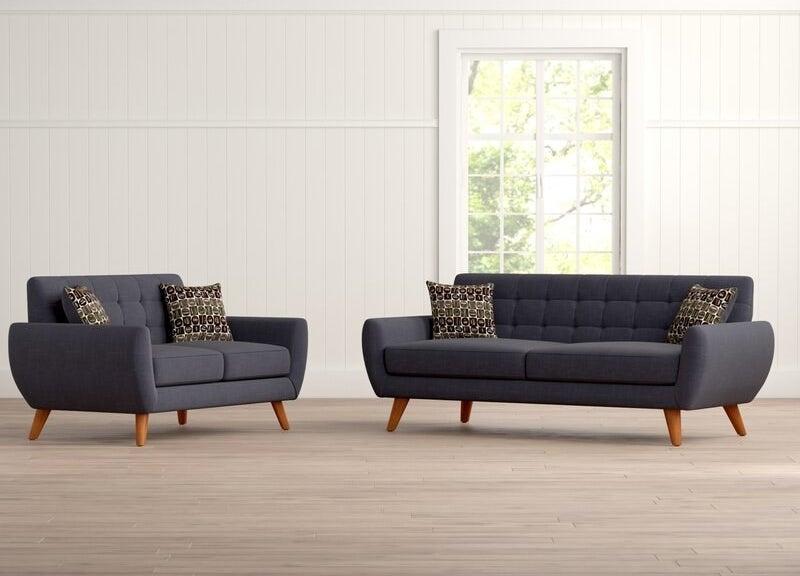 Ash black living room set with brown legs