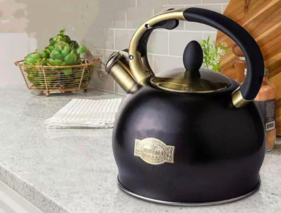 black and gold tone accents on kettle
