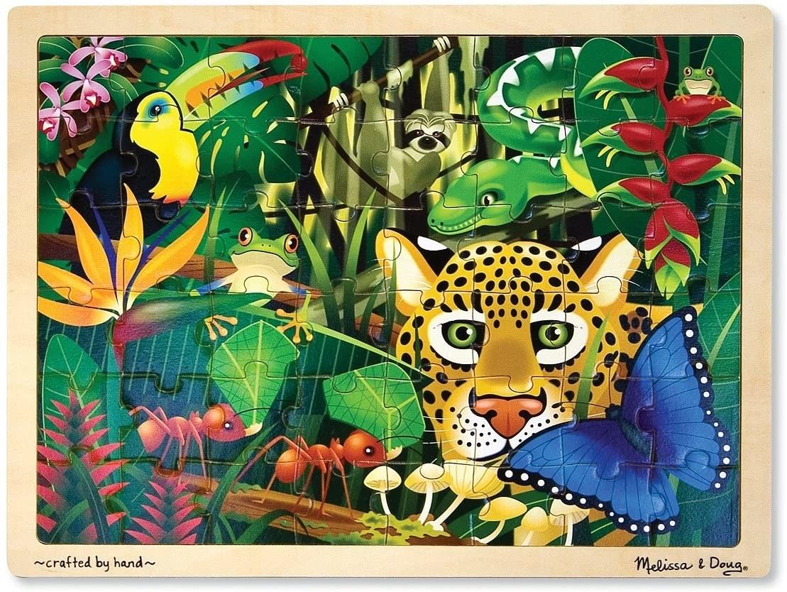 A rainforest-themed puzzle set