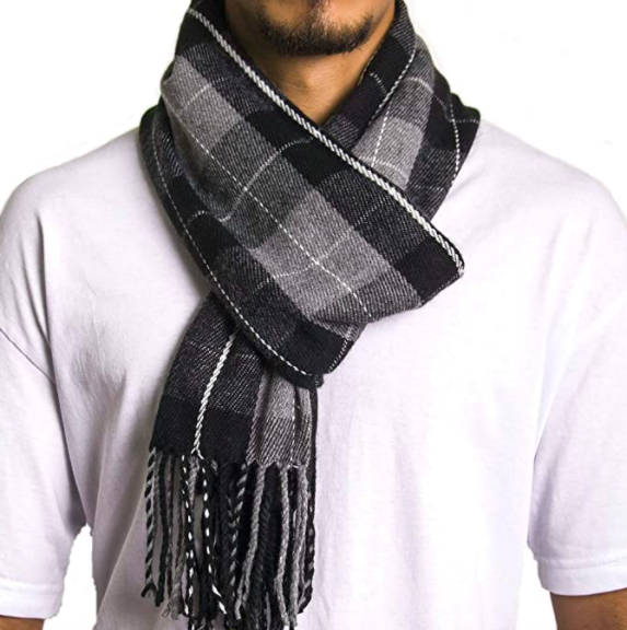 model wearing Alpine Swiss plaid scarf in gray plaid