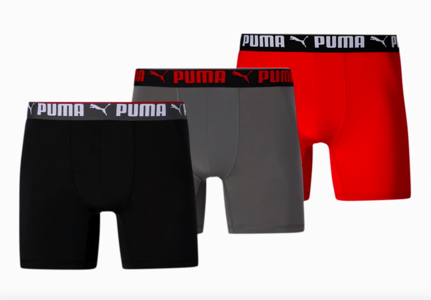 three-pack of Puma men's athletic boxers in black, gray and red