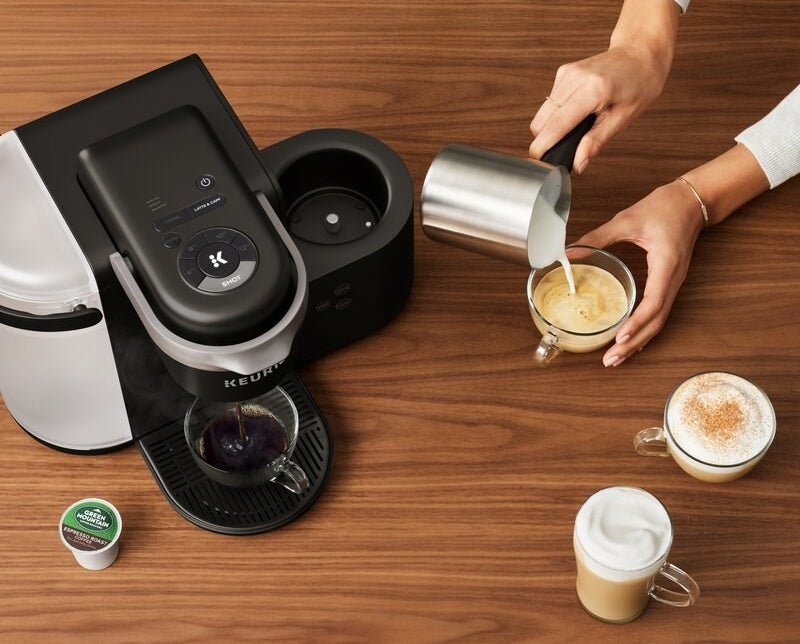 Charcoal gray Keurig machine with silver milk frother