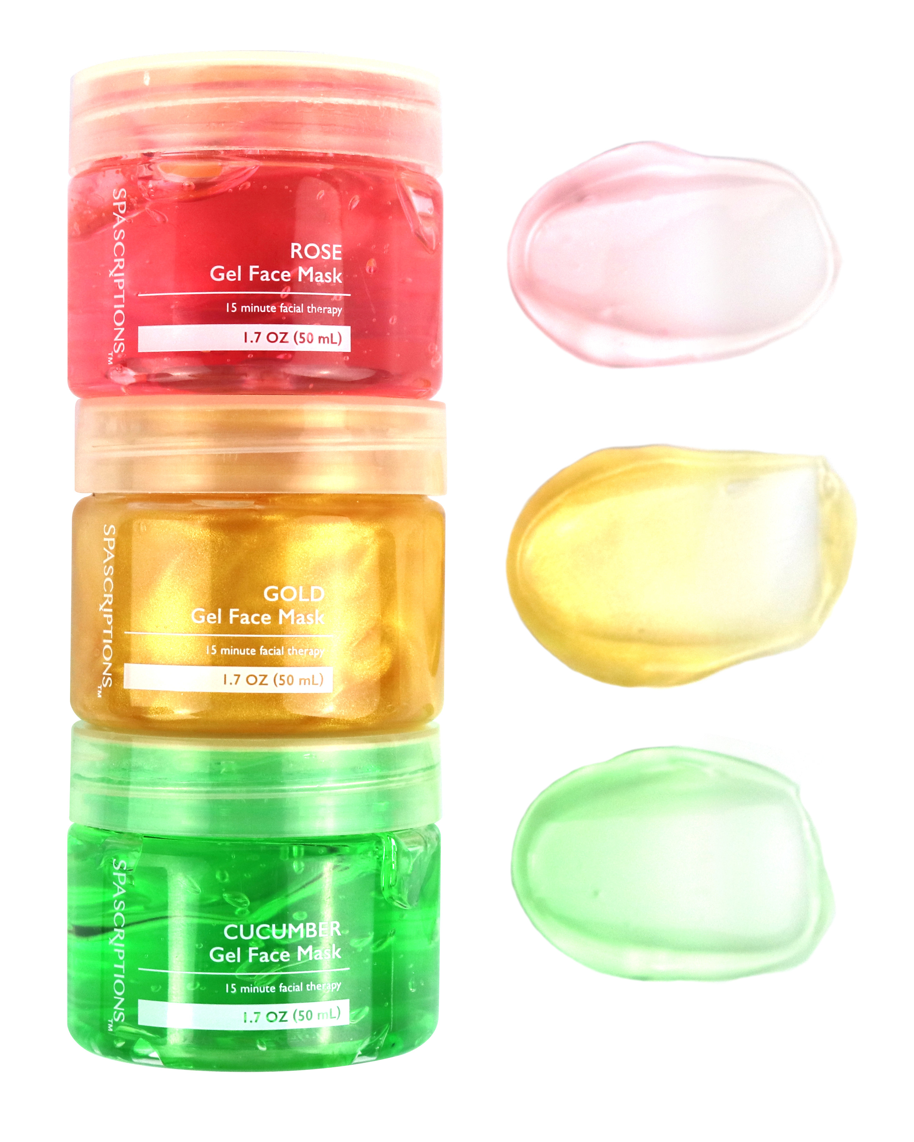 The face mask set beside swaps of the product to show its smooth, gel-like consistency