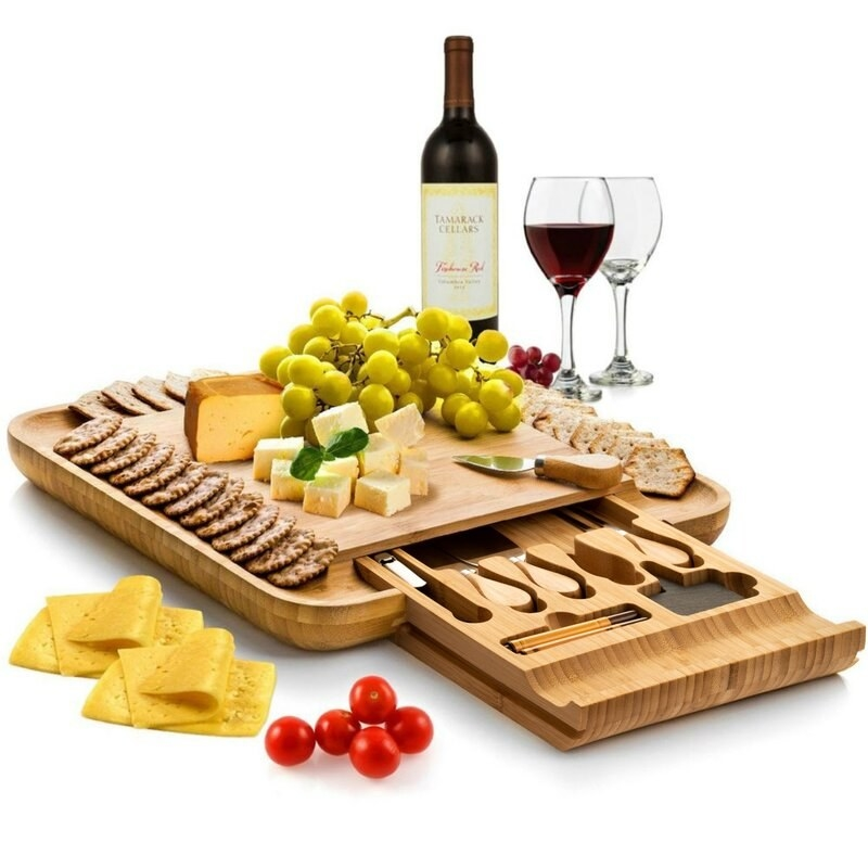 Bamboo cheese board with stainless steel utensils
