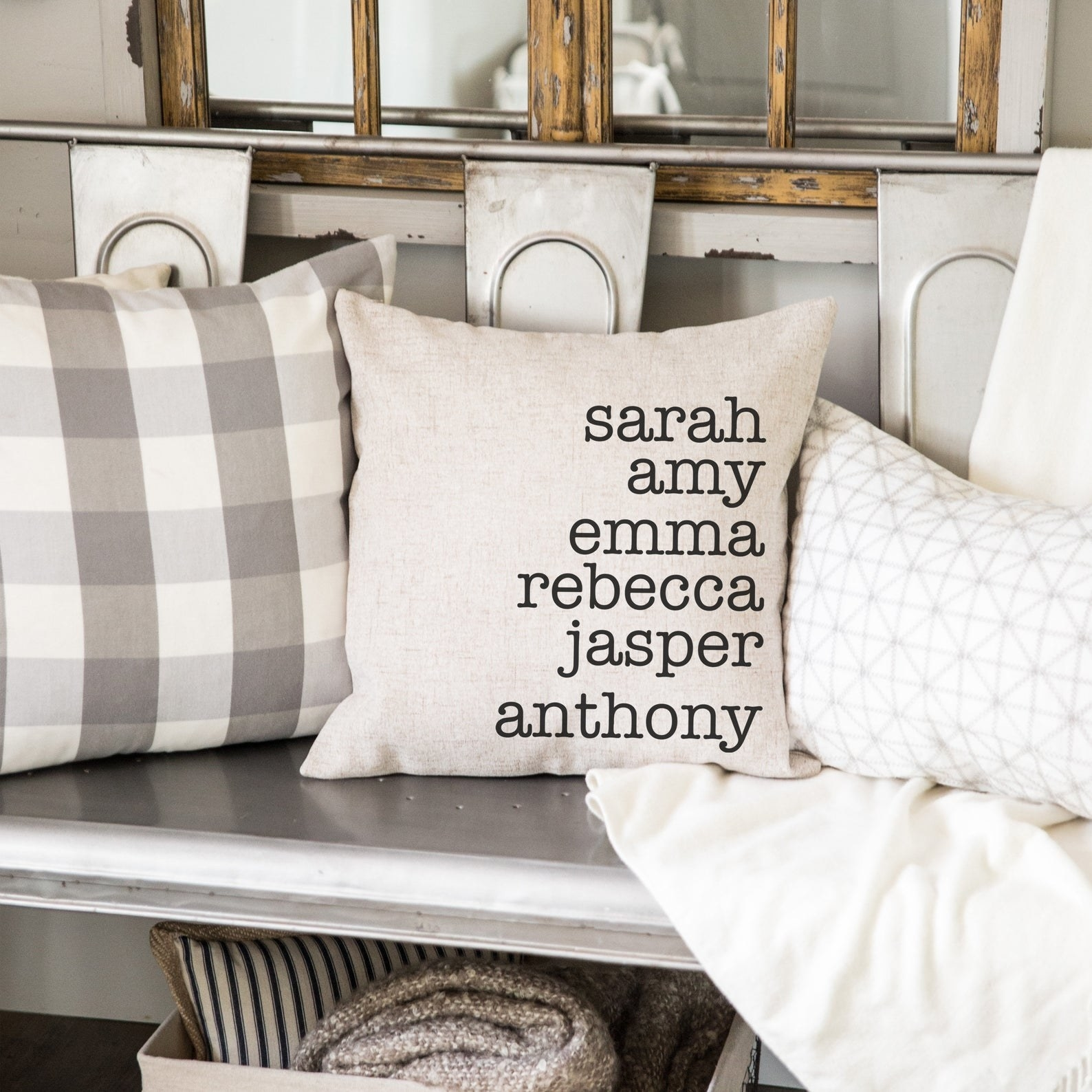 Personalized throw pillow with people's first names