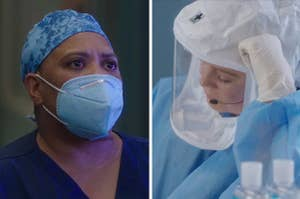 Dr. Bailey and Meredith Grey in Covid safety gear on Grey's Anatomy