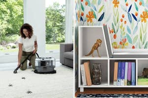 vacuum and bookshelf