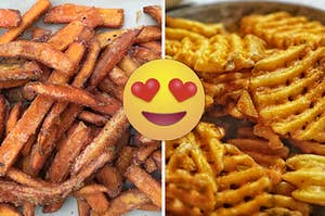 分裂图像:甜点薯条在左侧和奶蛋烘饼炸薯条,心中的眼睛emoji