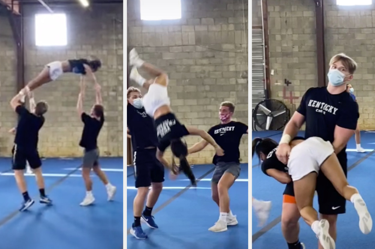 Cheerleaders almost drop a teammate midair but manage to catch them