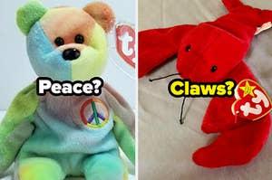 """小熊宝宝用""""和平""""吗上面写着一个有""""爪子""""的龙虾宝宝写在上面"""