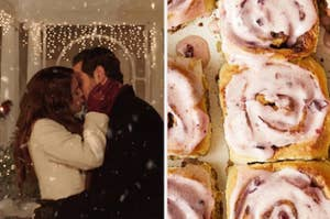 人们在雪中亲吻,旁边是一堆肉桂卷