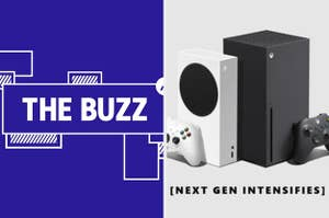 Split image of a purple graphic with the words THE BUZZ in white on one side and a photo of the Xbox Series S and X with the words NEXT GEN INTENSIFIES on the other