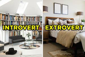 """On the left, a home library in a sun room with skylights labeled """"introvert,"""" and on the right, a bedroom with a bed, two nightstands on either side, and pieces of art on the wall labeled """"extrovert"""""""