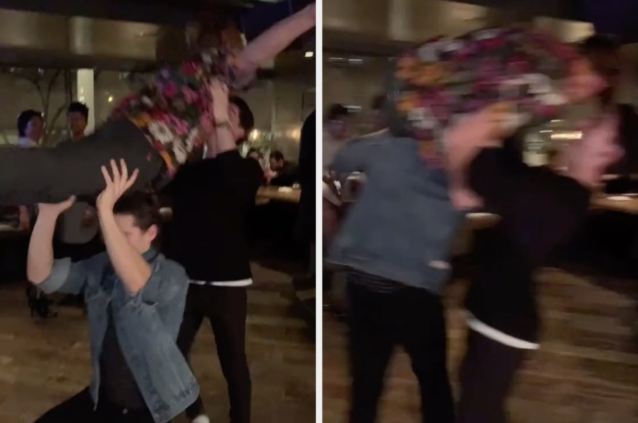 Someone attempts to jump into their friends' arms as a dance move but ends up almost being dropped