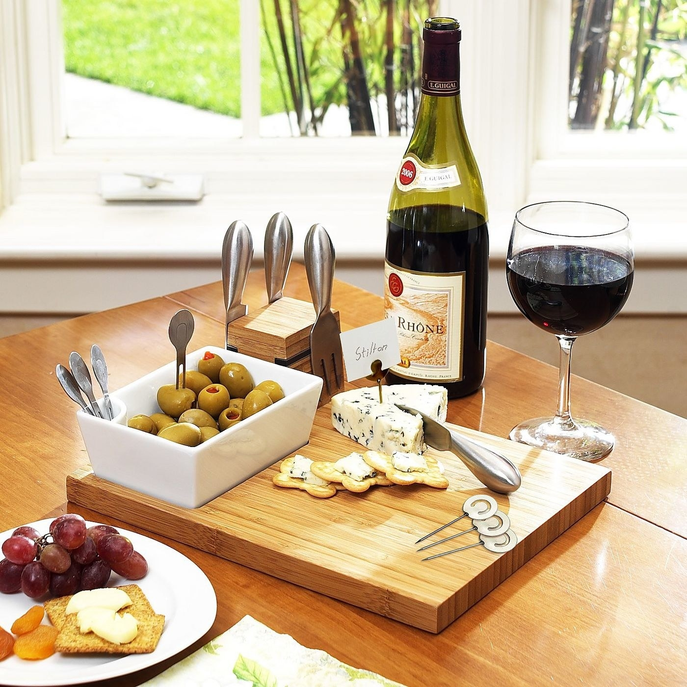The wooden block cheese board