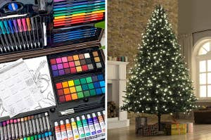 On the left, an art essential set, and on the right, a faux Christmas tree