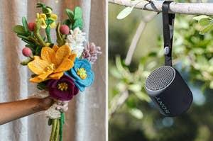 (left) Felt flower bouquet (right) Small black Bluetooth speaker