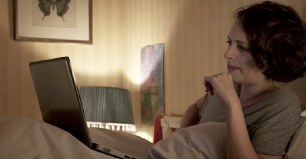 "Fleabag preparing to watch porn on her laptop in bed in ""Fleabag"""