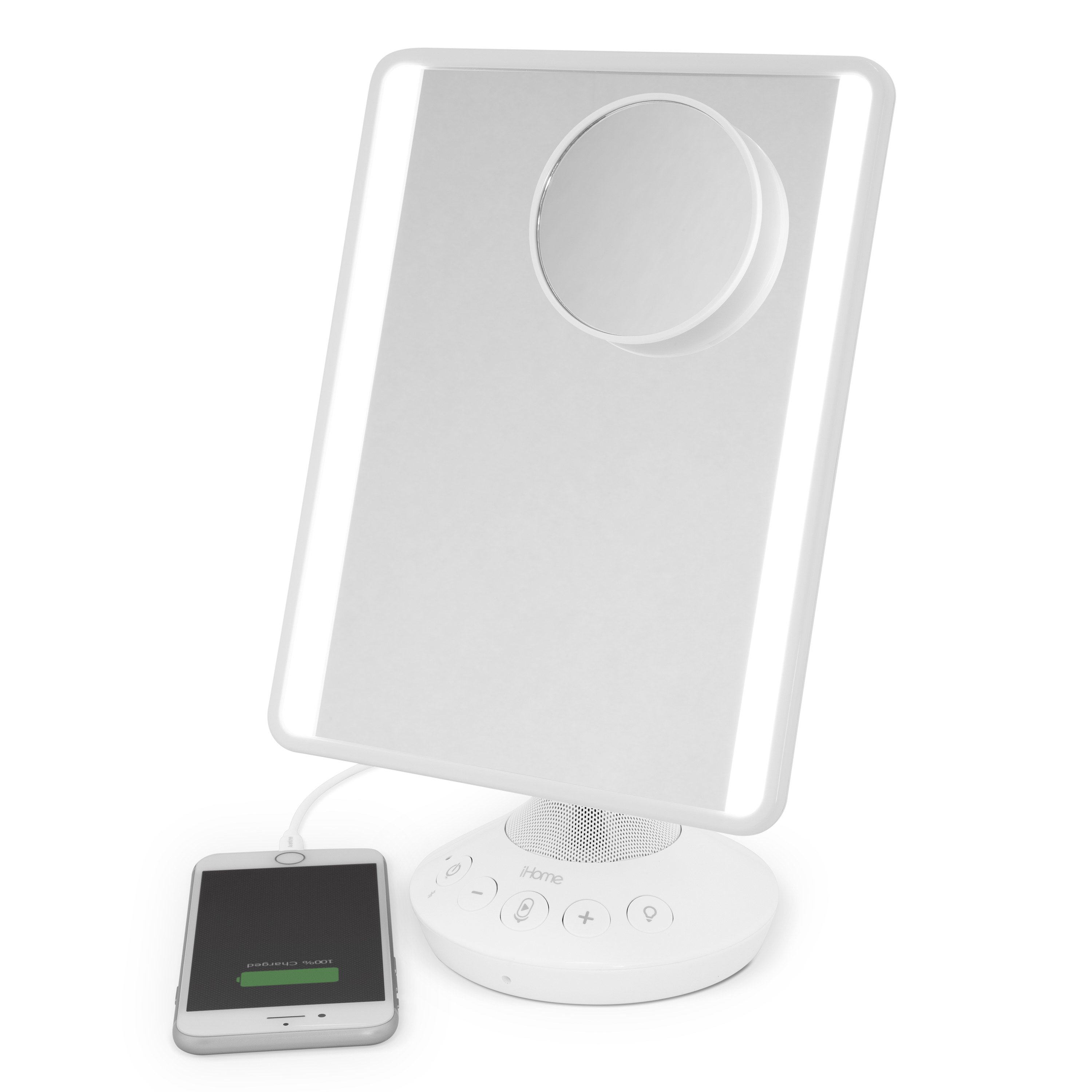 The mirror with a charging phone attached