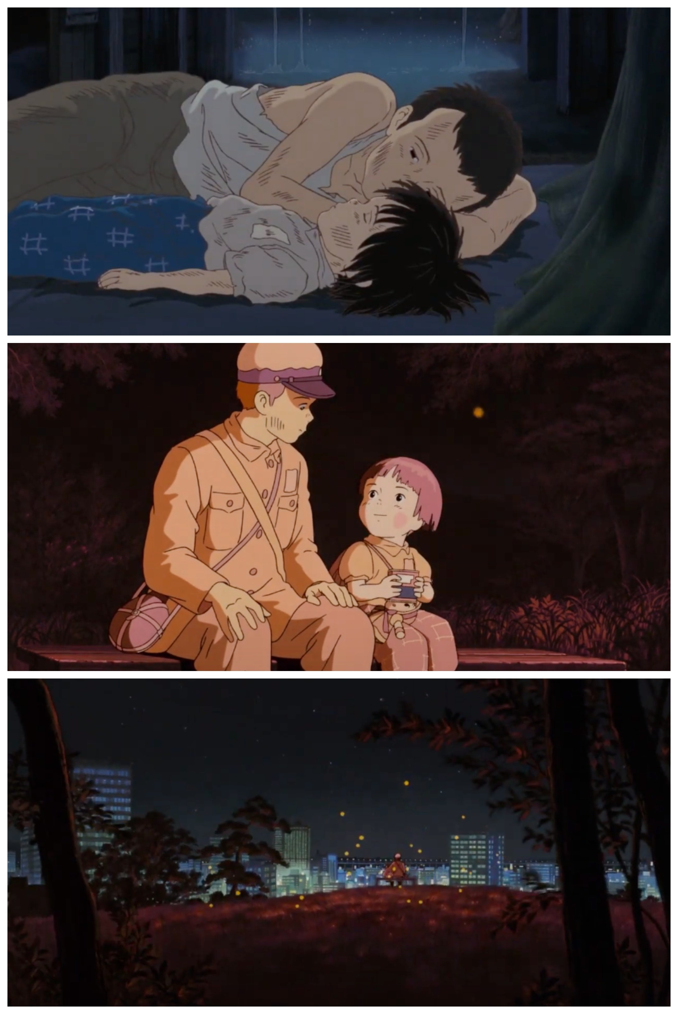 A collage showing Seita and Setsuko when they were alive and after they've reunited as spirits, surrounded by fireflies
