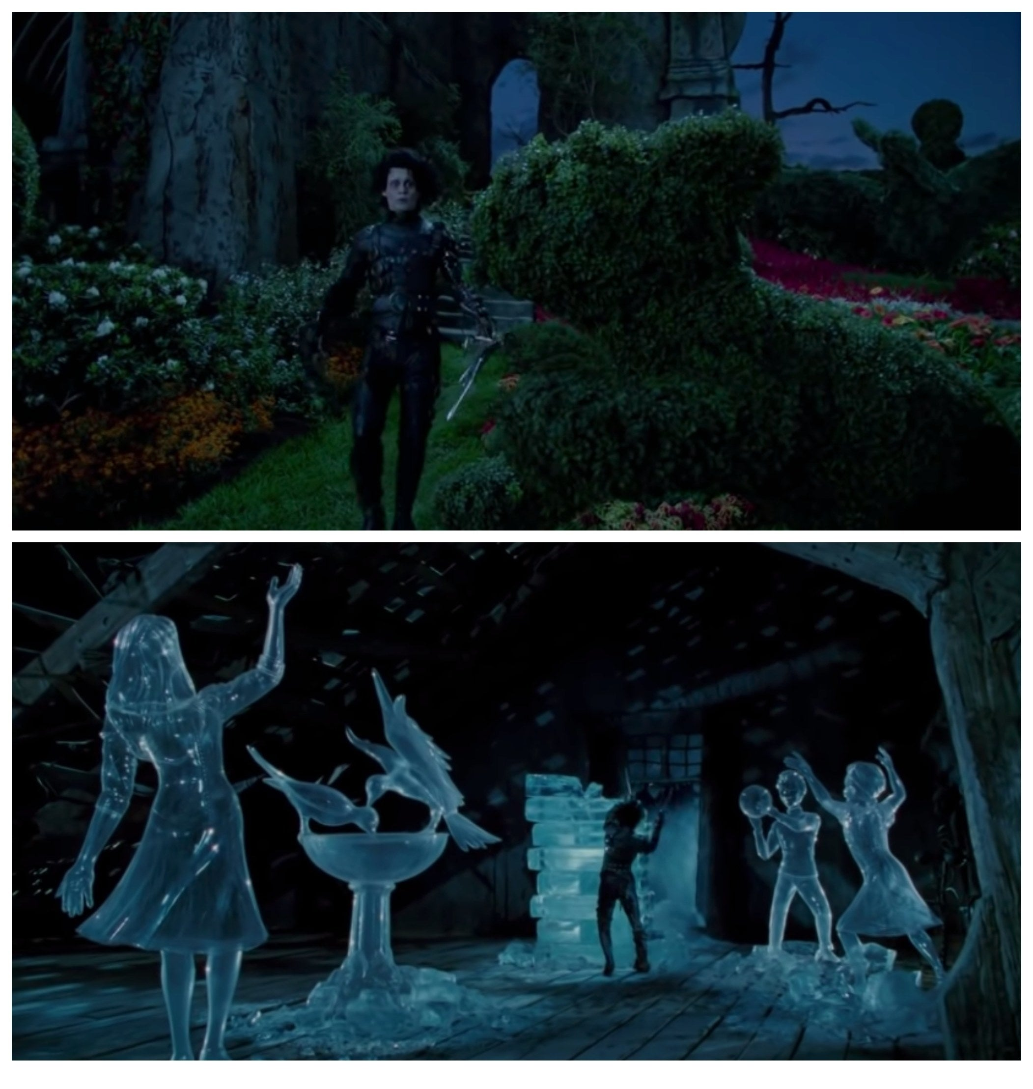 A collage showing Edward Scissorhands trimming hedges and carving ice sculptures in his tower