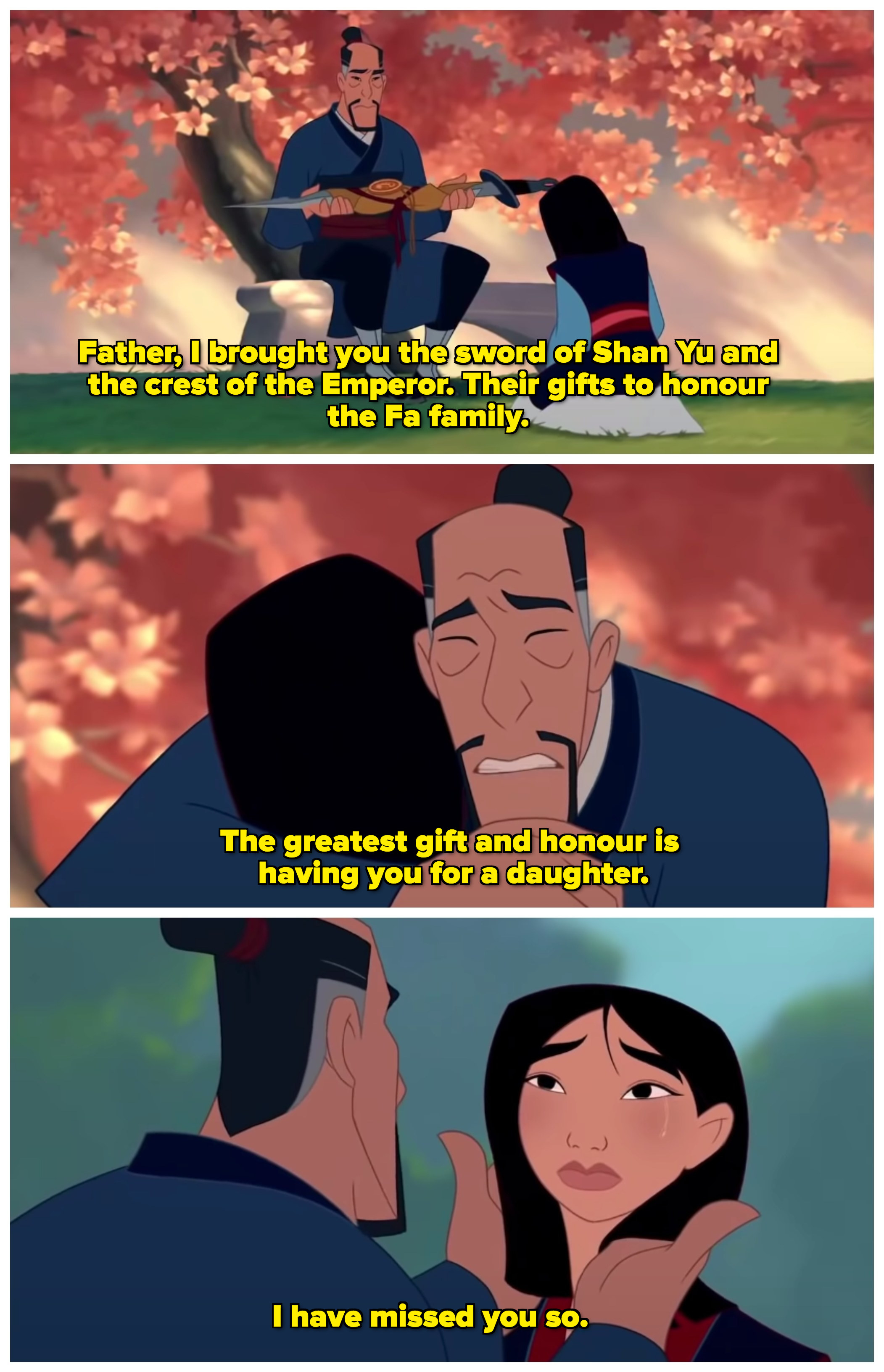 "A collage of the conversation between Mulan and her father; after tossing the gifts aside, he says ""The greatest gift and honour is having you for a daughter"""