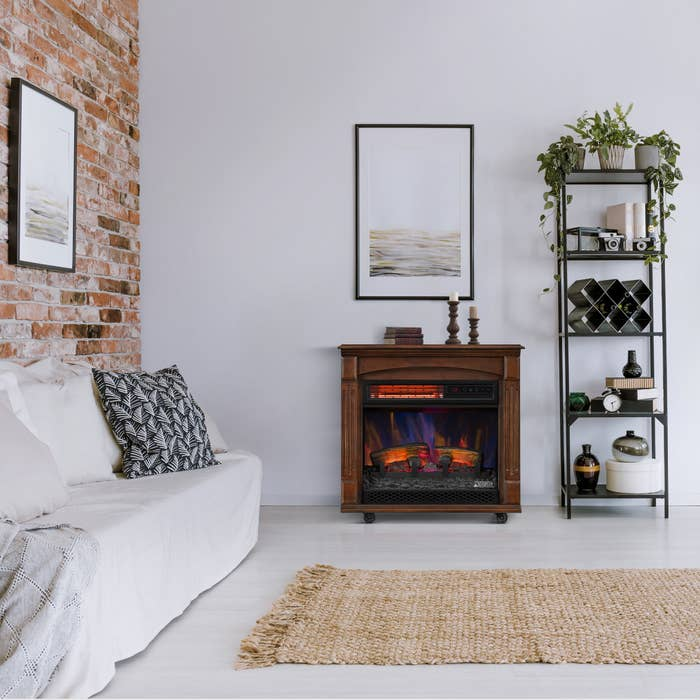 The fireplace in a decorated living room