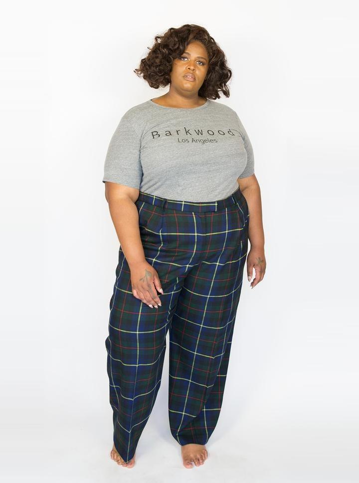a model wearing the plaid pants