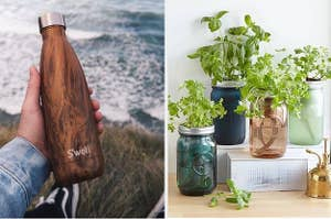 Two panels, from left to right, showing a hand holding out a S'well water bottle with a teakwood finish and a collection of mason jars with herb plants spouting out the top