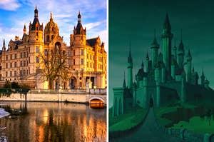 《睡美人》中德国施维林城堡和奥罗拉城堡的并排图片