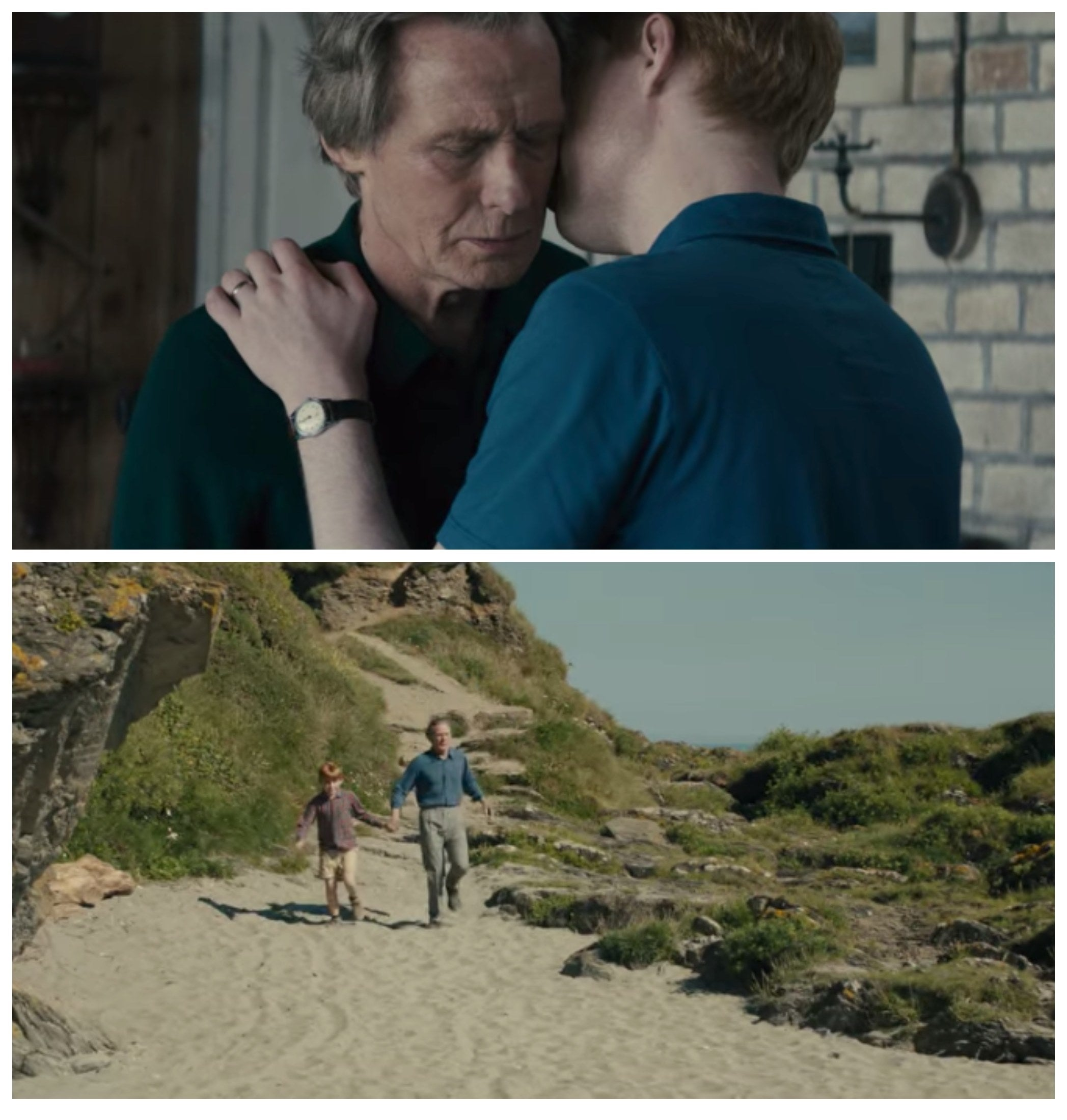 A collage of Tim kissing his father on the cheek and them walking down towards the beach in a childhood memory of Tim's