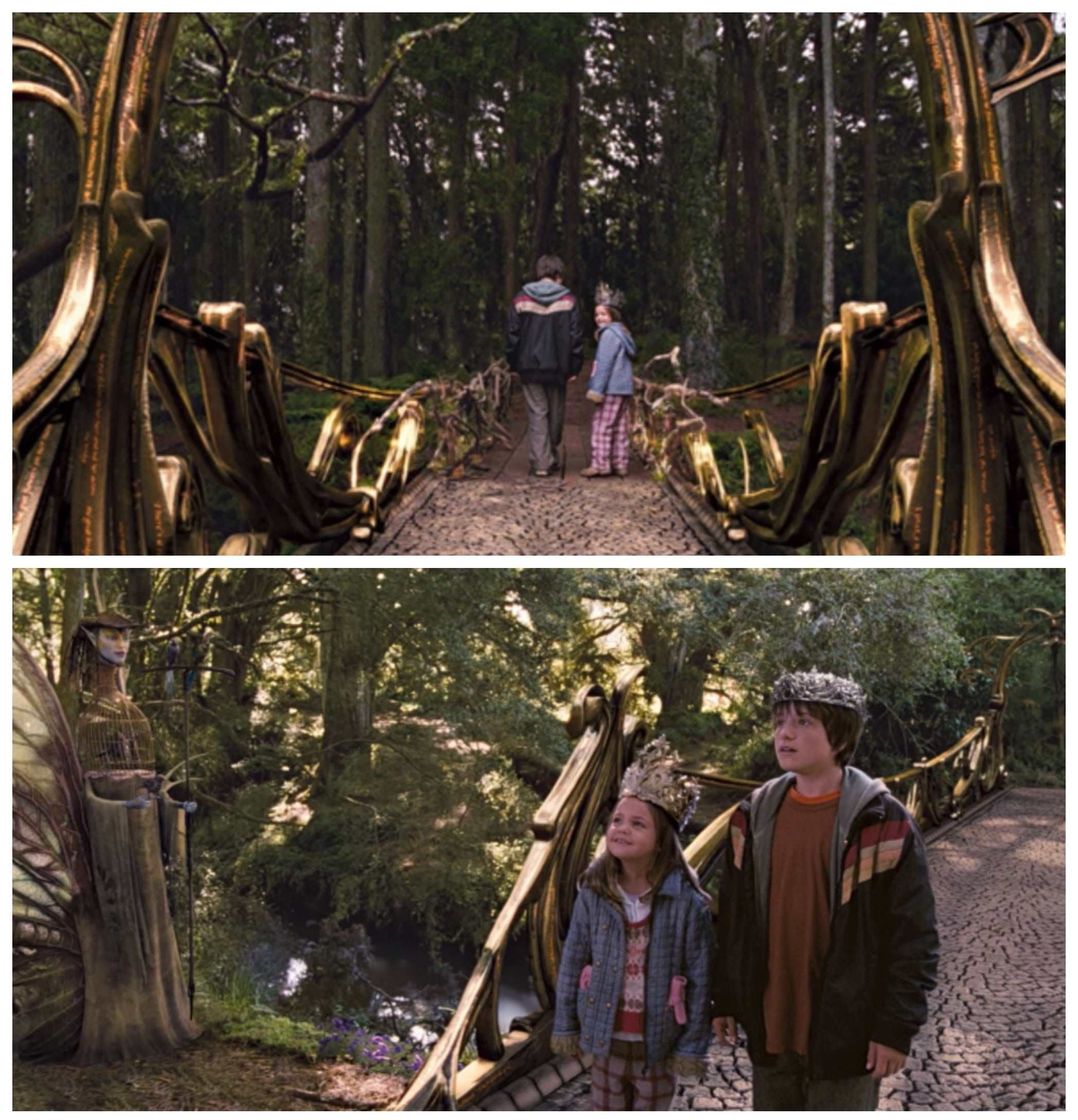 Jess and May Belle walking across the newly built bridge into Terabithia