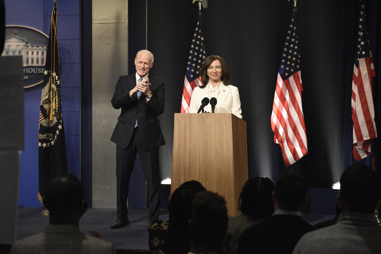 "Jim Carrey as Joe Biden and Maya Rudolph as Kamala Harris during the ""Biden Victory"" Cold Open"