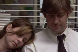 Pam sleeps while resting her head on a smiling Jim's shoulder