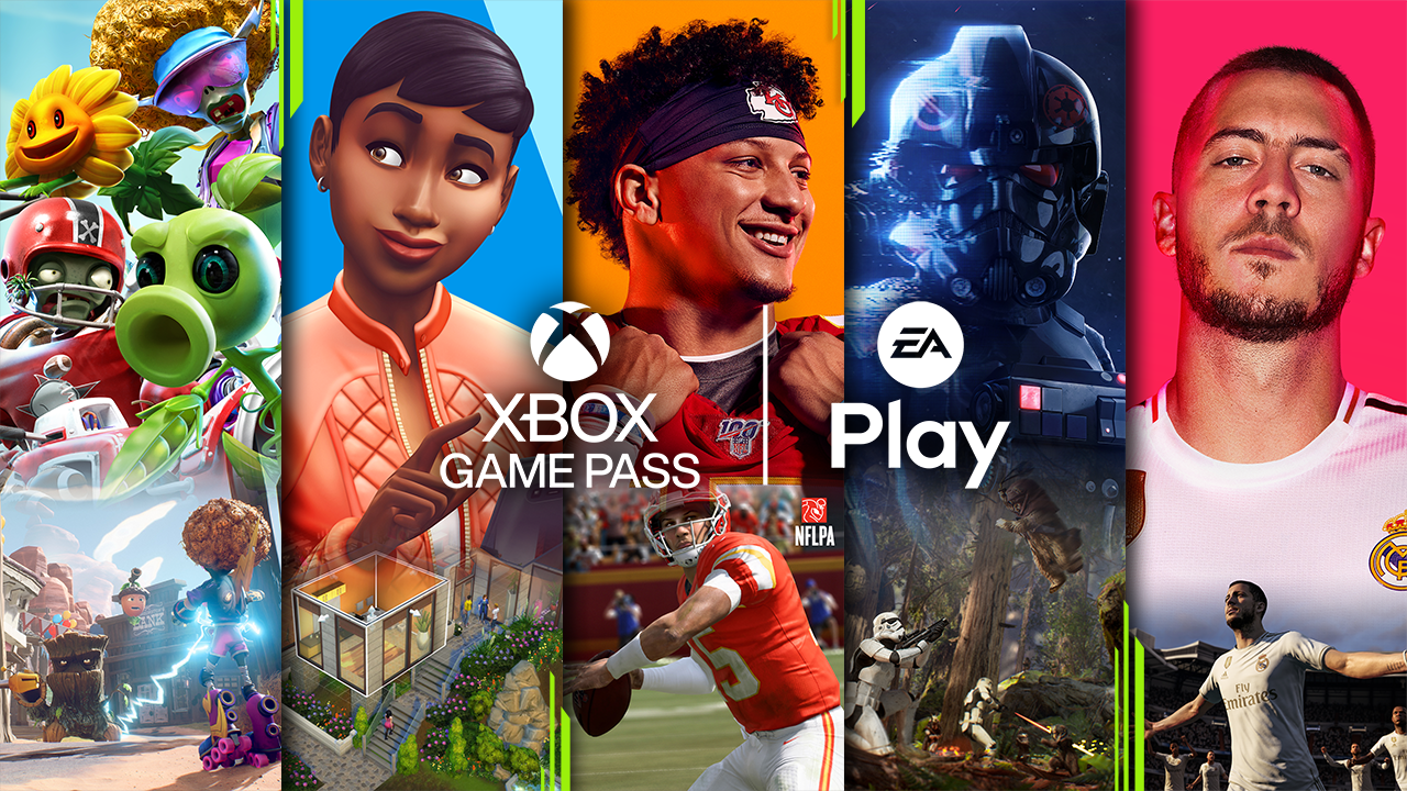 Xbox Game Pass promotional photo featuring screen shots of various games