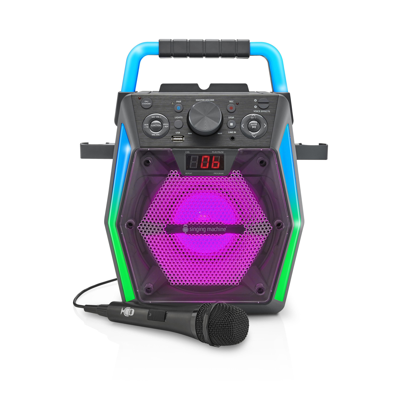 The multicolored karaoke machine and microphone