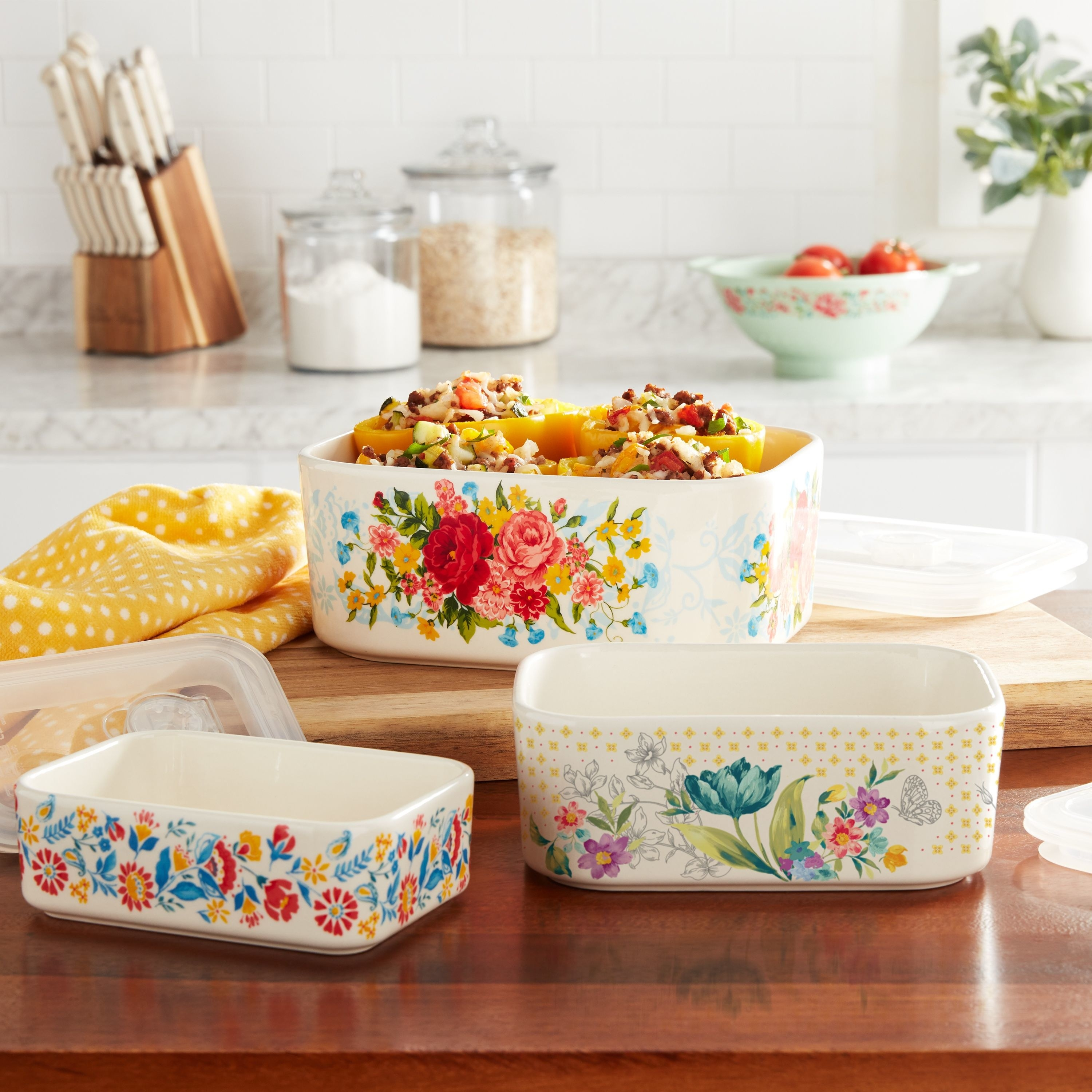 The floral bowls in a kitchen