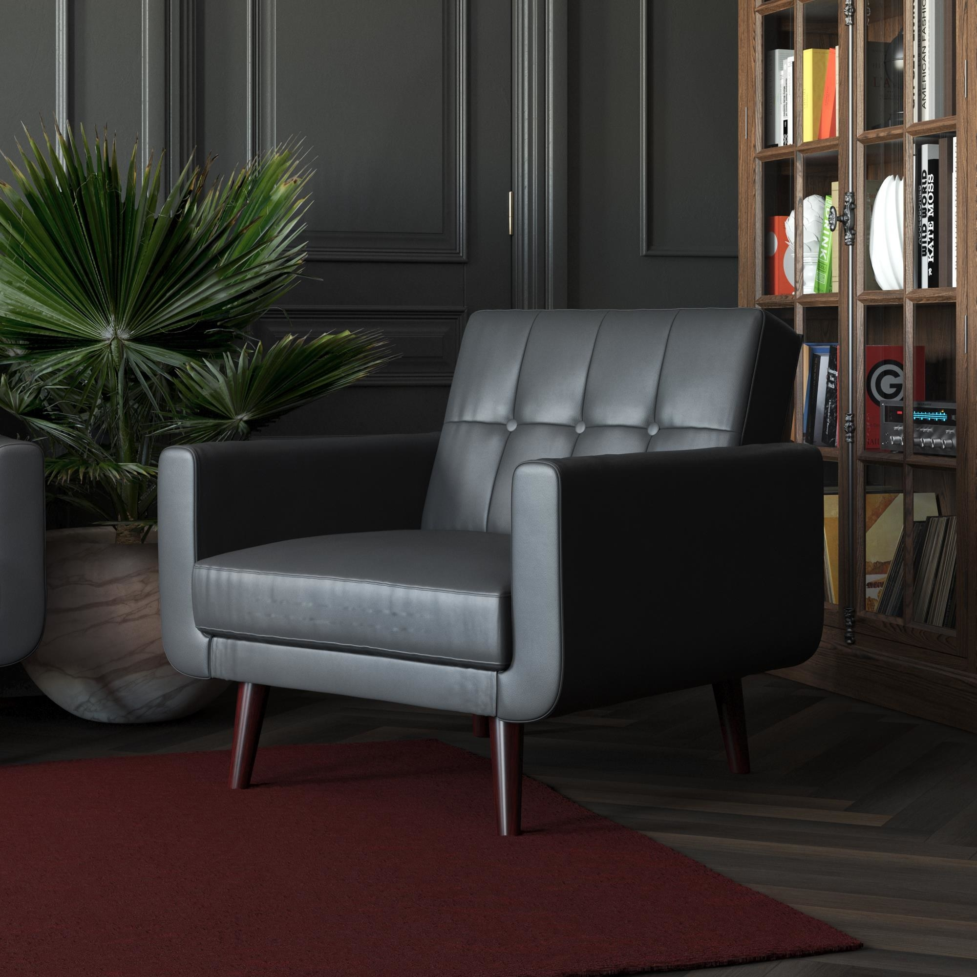 The black leather chair in front of a bookshelf