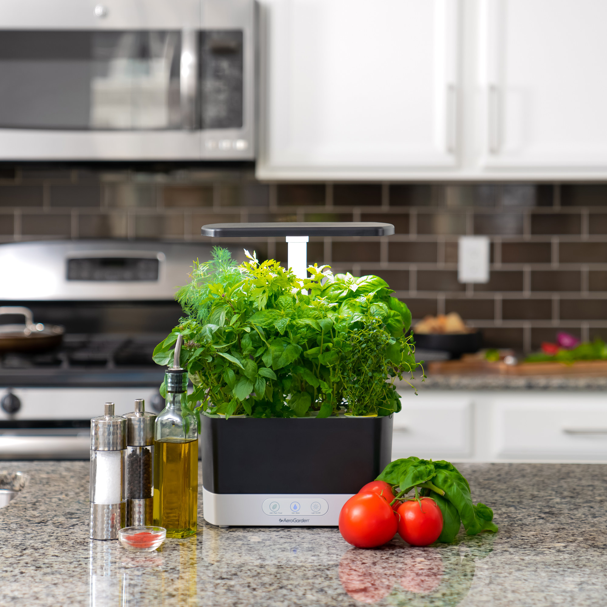 The Aerogarden, full of herbs, with some spices and vegetables in a kitchen
