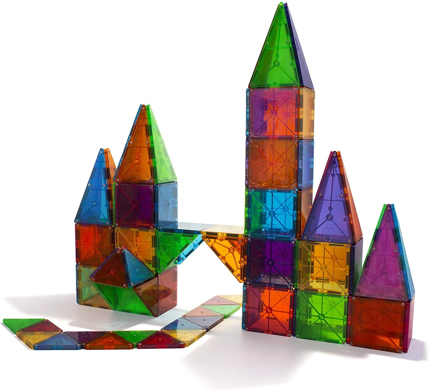 Brightly colored magnetic tiles for children built into a castle