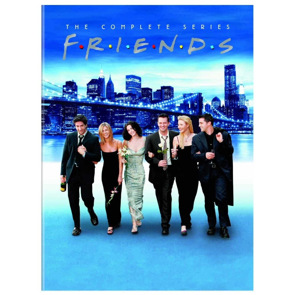 The DVD cover, with six actors in formal clothes and the New York City skyline