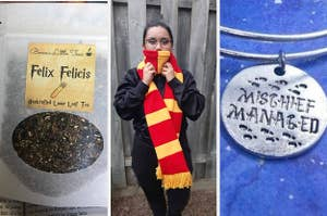 A split screen of Felix Felicis tea a person wearing a red and yellow scarf and a charm that says mischief managed